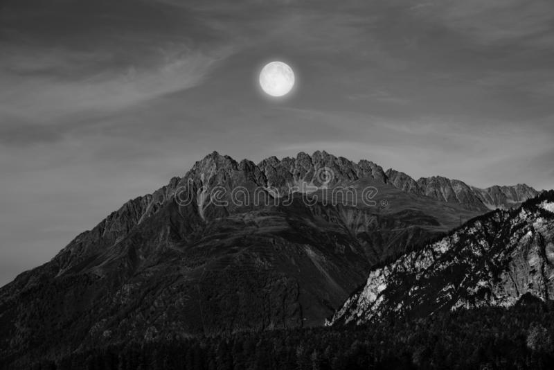 Mountains and trees in black and white. Full of peace on Italy, alpes, dolomites royalty free stock images