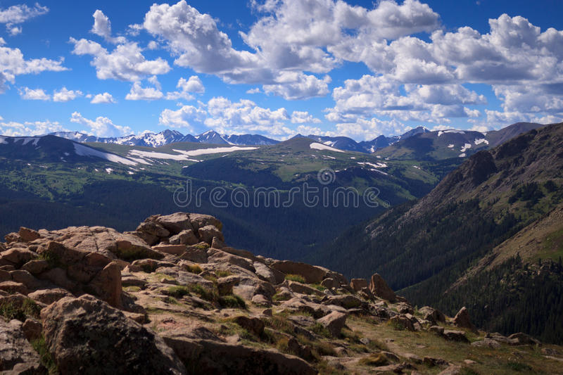 Mountains under a hectic sky stock images