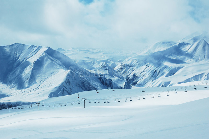 Mountains Under Snow In Winter Stock Image