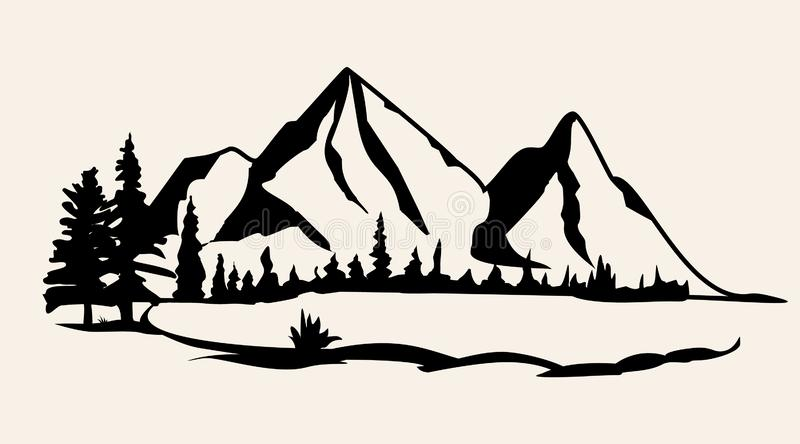 Mountains vector.Mountain range silhouette isolated vector illustration. Mountains silhouette. Vector illustration vector illustration