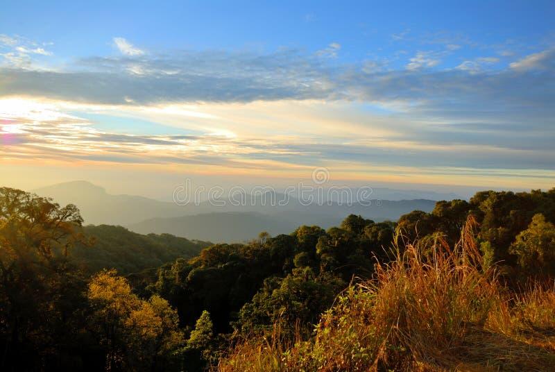 Mountains view at Doi Intanon national park. Chiangmai, Thailand royalty free stock image