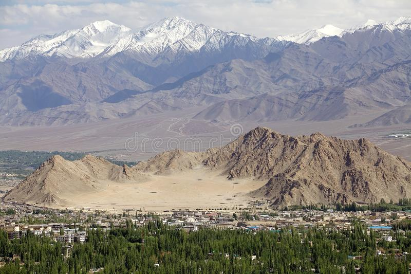 Mountains and view of Leh, India. Leh was the capital of the Himalayan kingdom of Ladakh, now Leh District, in the north indian state of Jammu and Kashmir stock photography