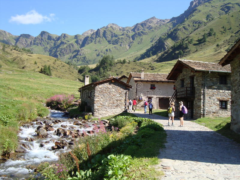 Mountains village. Foreshortening of a country they climb on royalty free stock photo