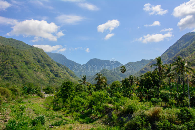 Mountains in the village of Amed on the Bali island , Indonesia stock photo