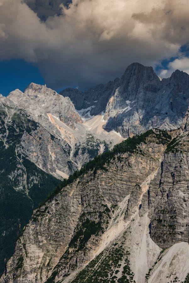 Mountains in Vrsic Pass in Triglav Park, Slovenia.  stock images