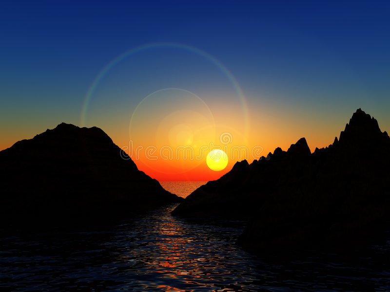 Download Mountains In Water stock illustration. Image of coastline - 4649256