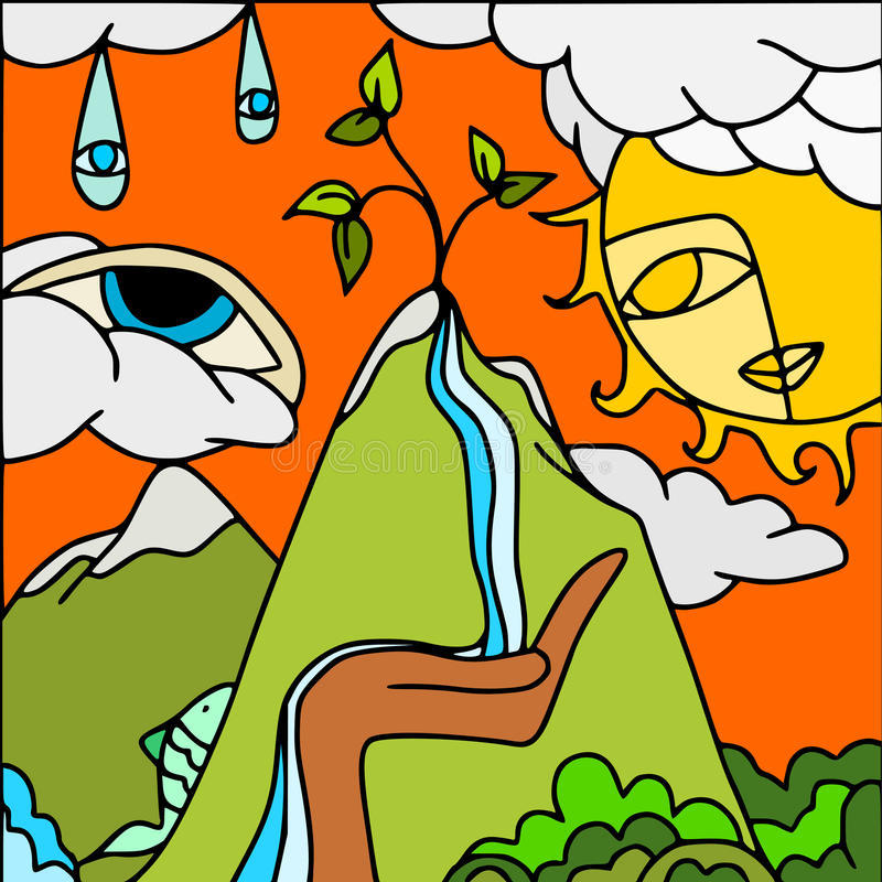Mountains and waterfall stock illustration