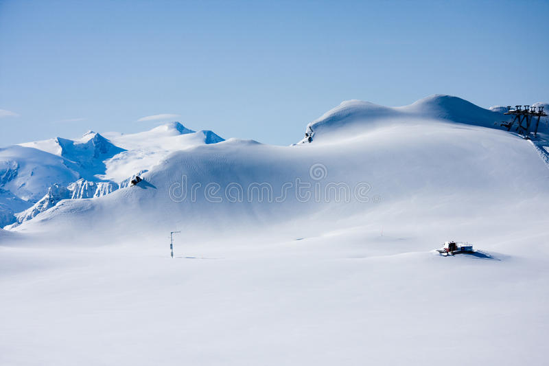 Mountains In Winter And Snowcat Royalty Free Stock Photo
