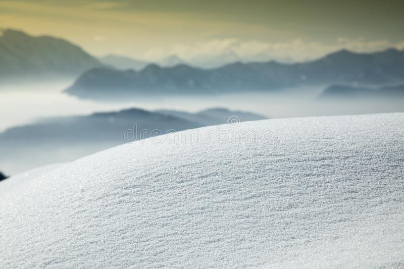 Mountains and winter space for your text royalty free stock photo