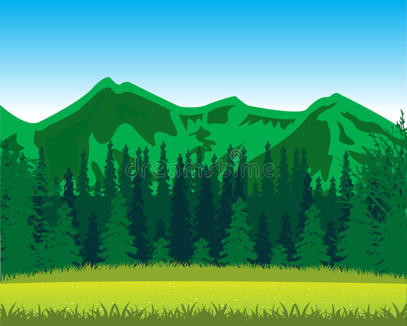 Mountains and wood by summer vector illustration