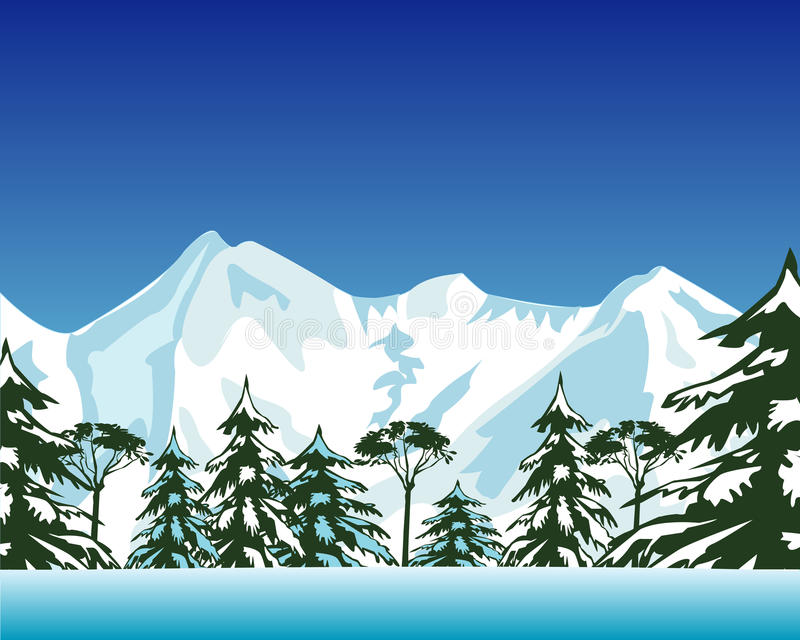 Mountains and wood in winter royalty free illustration