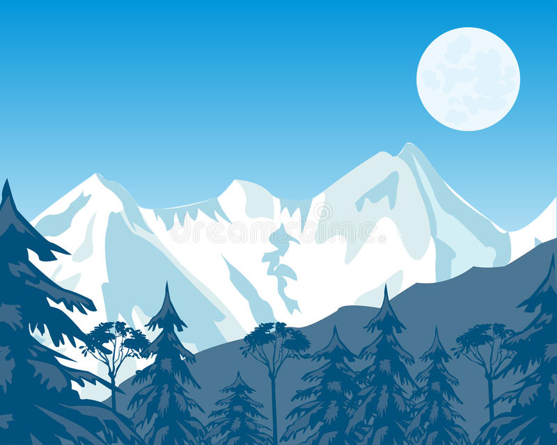 Mountains and wood in winter stock illustration