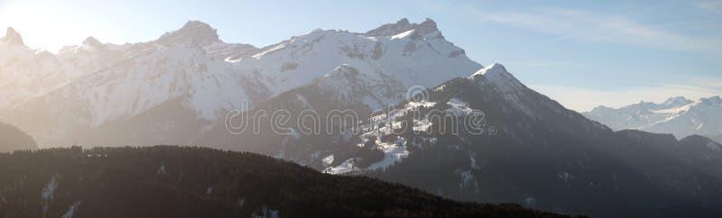 Mountainscape. Alpine scenery with mountain peaks stock image