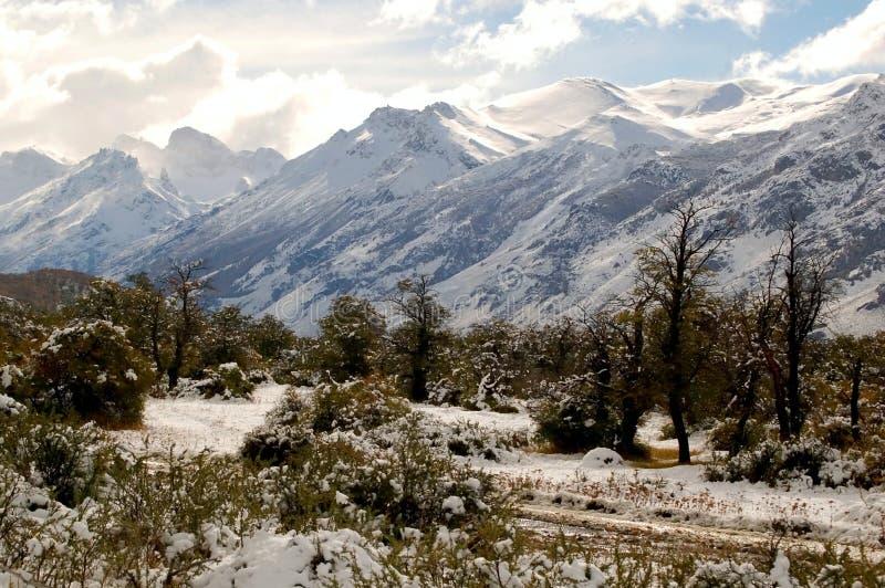 Mountainscape Patagonian do inverno fotos de stock royalty free