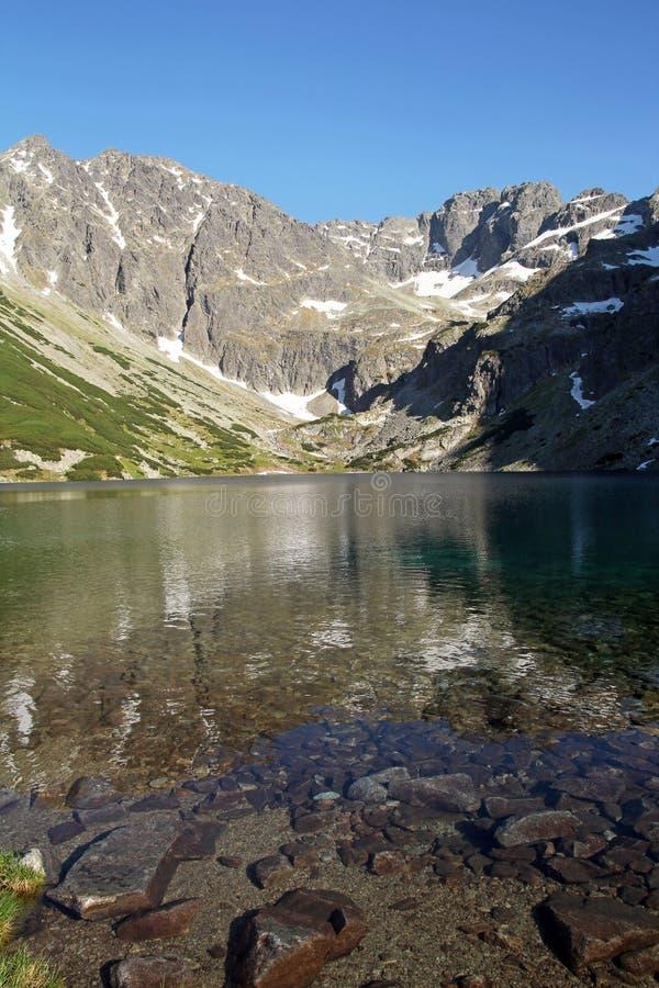 Mountainsee und felsige Berge, lizenzfreie stockbilder