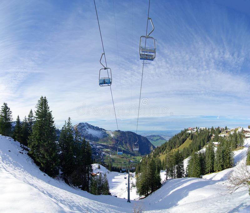 Mountainside chairlift royalty free stock photos