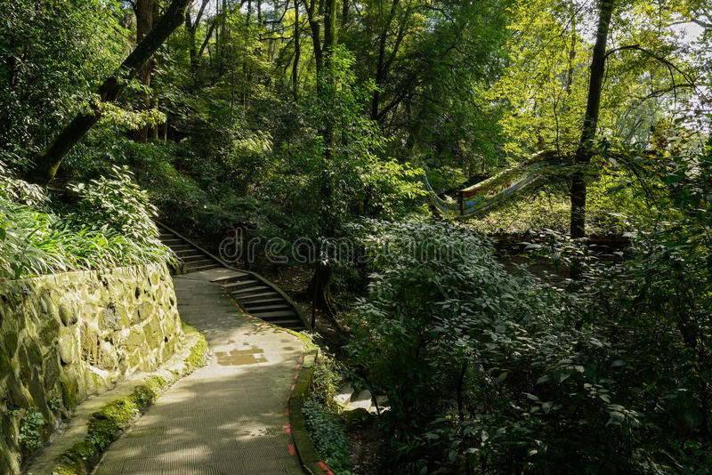 Mountainside flagstone pavemnet in sunny winter. Mountainside flagstone pavement in sunny winter,Dujiangyan,China royalty free stock image
