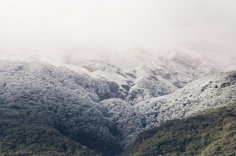 Mountaintop covered in snow stock images