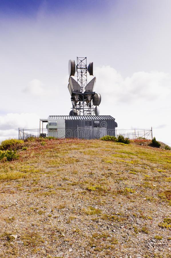 Mountaintop microwave site stock photos