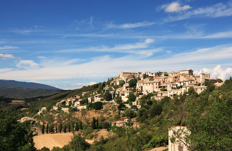 Mountaintop village in France stock photography