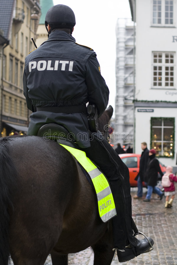 Mounted police. On the streets of Copenhagen stock photography