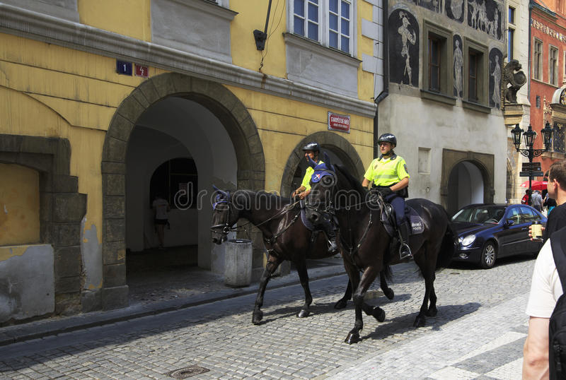 Mounted police in centre of Prague. Mounted police in historical centre of Prague stock image