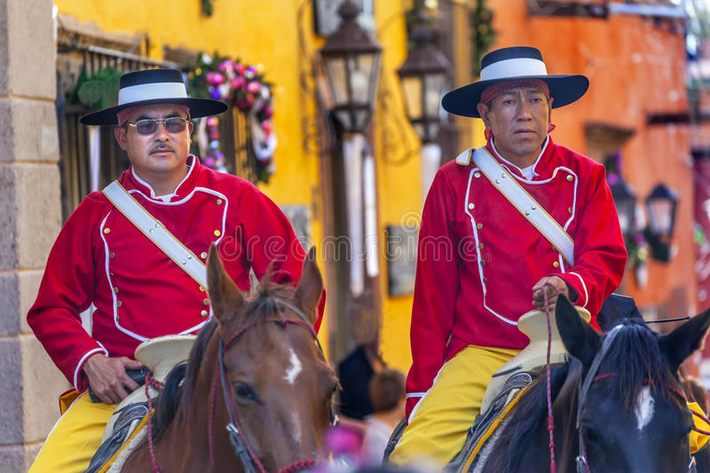 Mounted Police Jardin Town Square San Miguel de Allende Mexico. Mounted Police Traditional Uniforms Jardin Town Square San Miguel de Allende Mexico royalty free stock photography