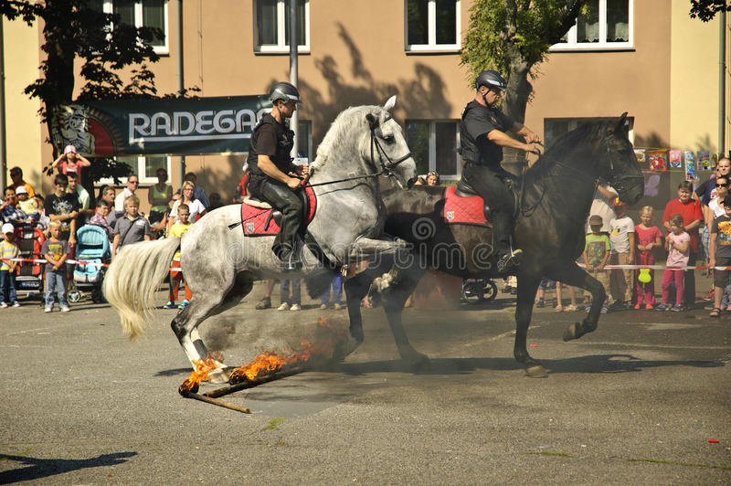 Mounted policemans jumping accros fire. stock photography
