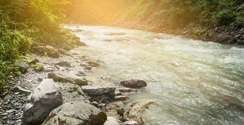 Mountian flod med cristal vatten på solljusnaturbakgrund fotografering för bildbyråer