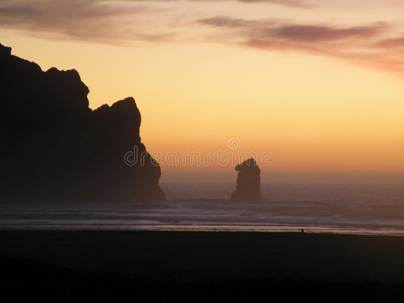 Mountian and ocean at sun set Highway 1 California stock images