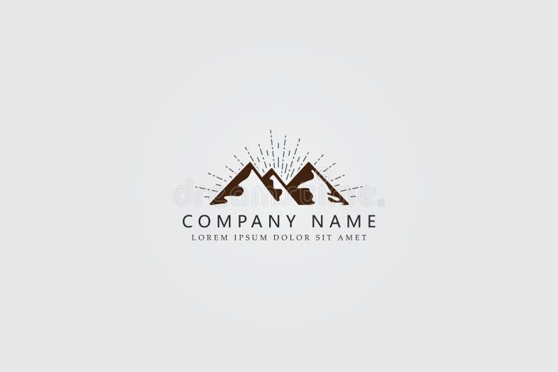 Mountine Logo Designs com conceito simples e elegante do vintage ilustração royalty free