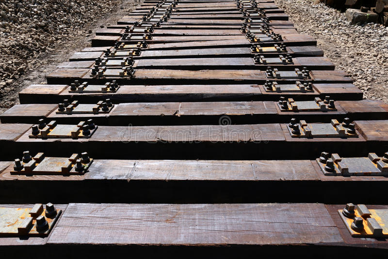 Mounting of railroad. Railway sleepers for maintenance railroad in Croatia royalty free stock image