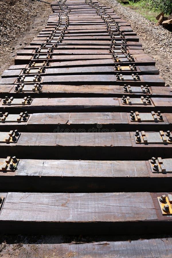 Mounting of railroad. Railway sleepers for maintenance railroad in Croatia stock image