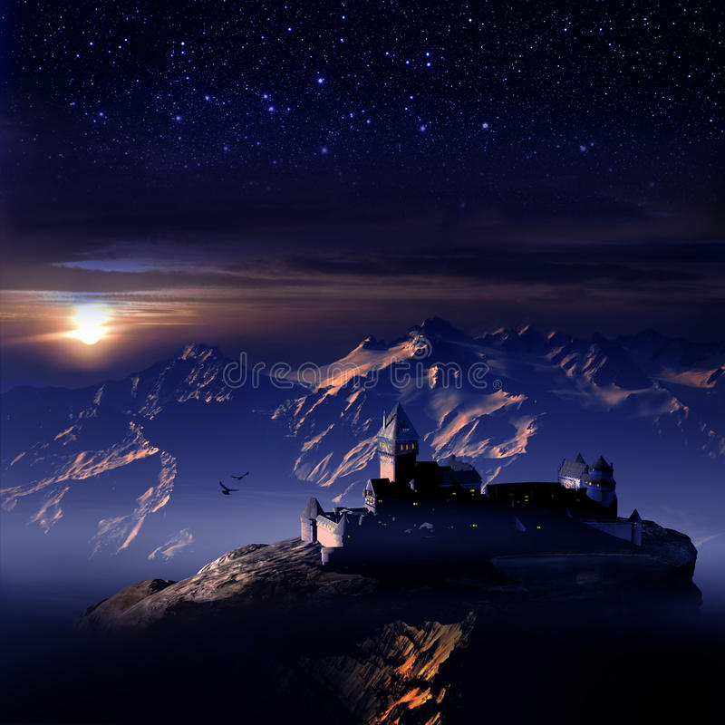 Mounts and Castle under Stars. Castle on the top of a mount, under the sunset, when stars are appearing in the sky