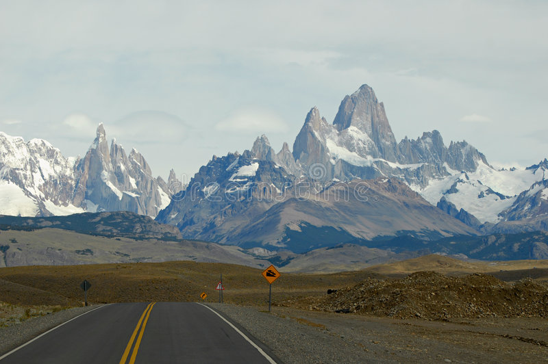 Mounts Fitz Roy and Torre from road to El Chalten royalty free stock image