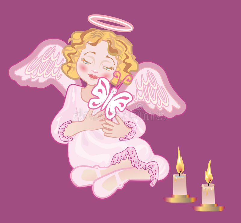 A Mournful Angel Holds A Butterfly Royalty Free Stock Images