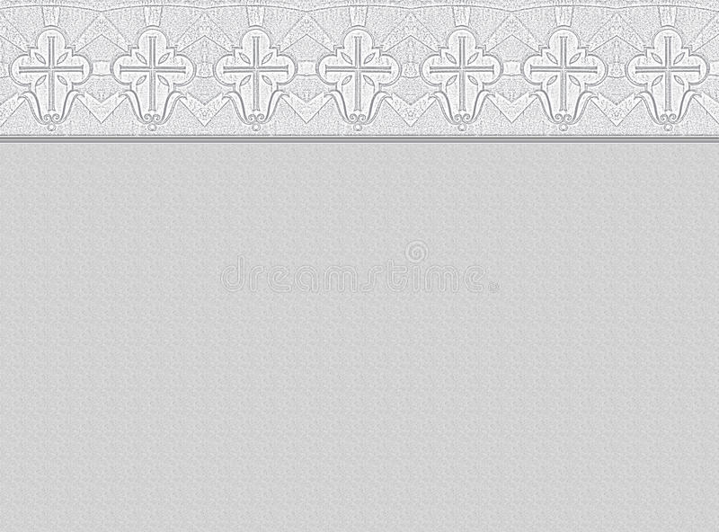 Mourning background with ornamental border. Light grey background with ornamental border, made of christian cross symbols, copy space vector illustration