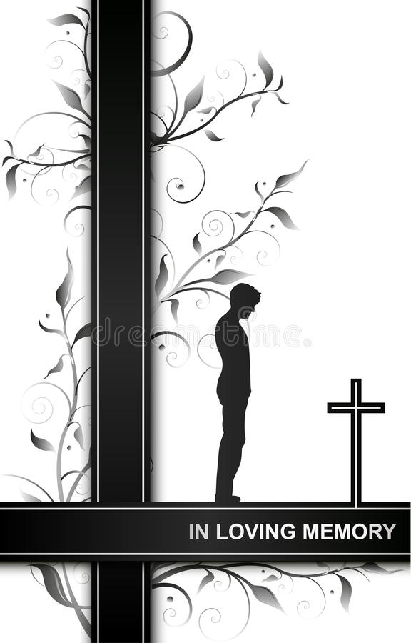 Mourning card in loving memory with a man on a cross and floral elements isolated on white background stock illustration