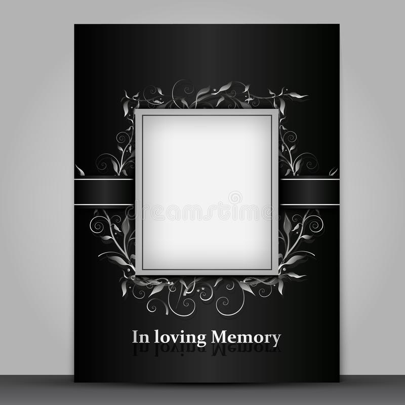 Mourning card standard size with photo frame isolated on grey background vector illustration