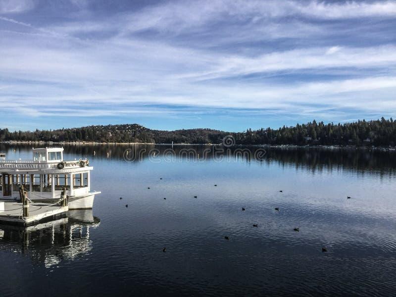 Morning at Lake Arrowhead, California on a calm Winter day royalty free stock photo