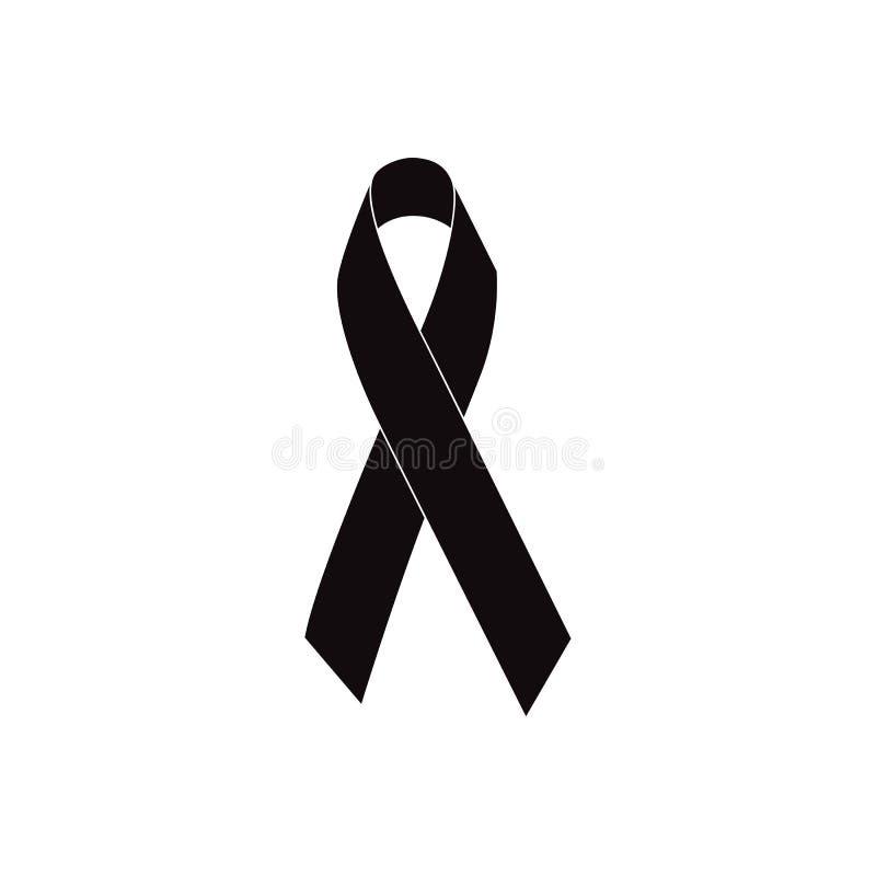 Mourning Ribbon Black Awareness Ribbon Isolated On White Background