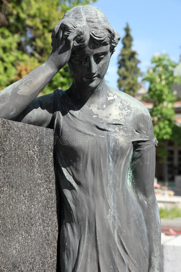 Mourning sculpture on a Mirogoj cemetery, Zagreb royalty free stock photography