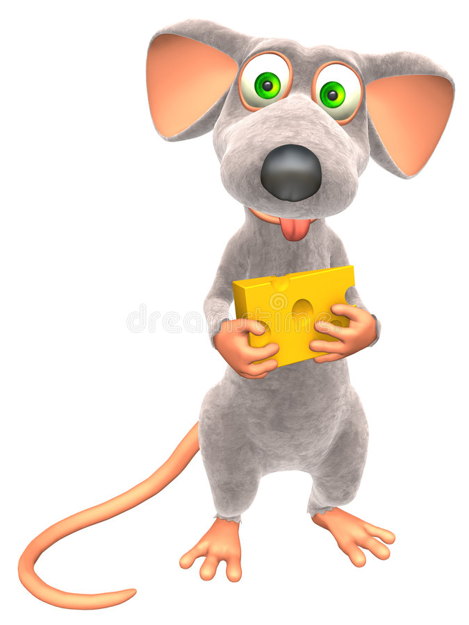 Mouse. With small piece of Cheese (Picture with isolation on a white background