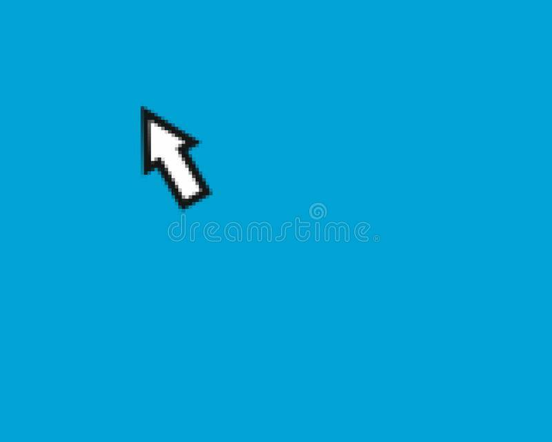 Mouse arrow pointer. Pixelated mouse arrow pointer over blue desktop with copy space royalty free stock photo