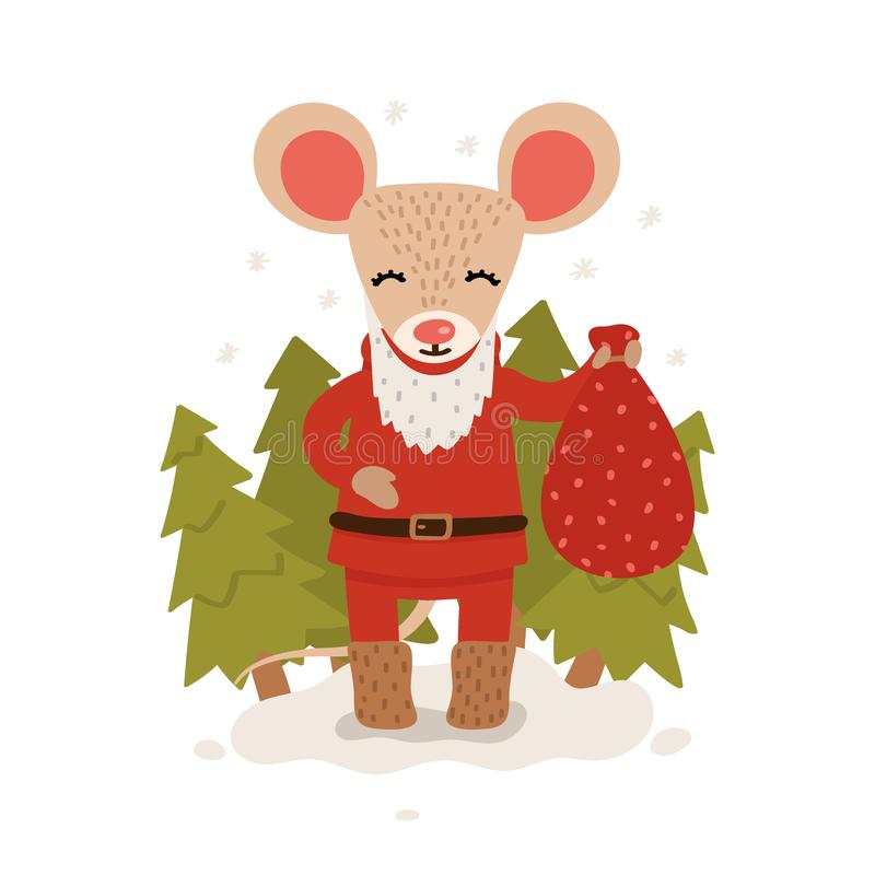 A mouse with a bag of gifts among the Christmas trees. Christmas and New Year character isolated on a white background. Postcard. stock illustration