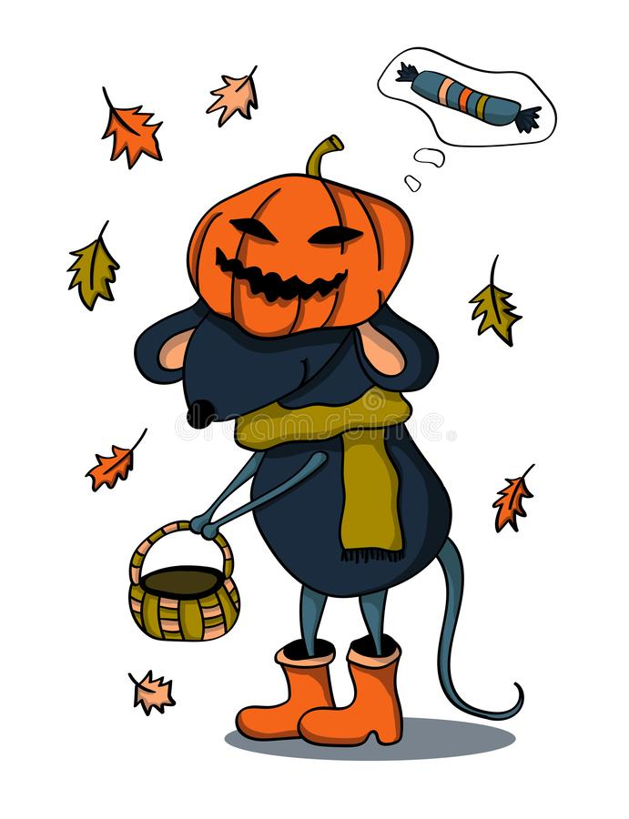 A mouse with a basket in a pumpkin suit dressed up for Halloween. Vector drawing. royalty free illustration