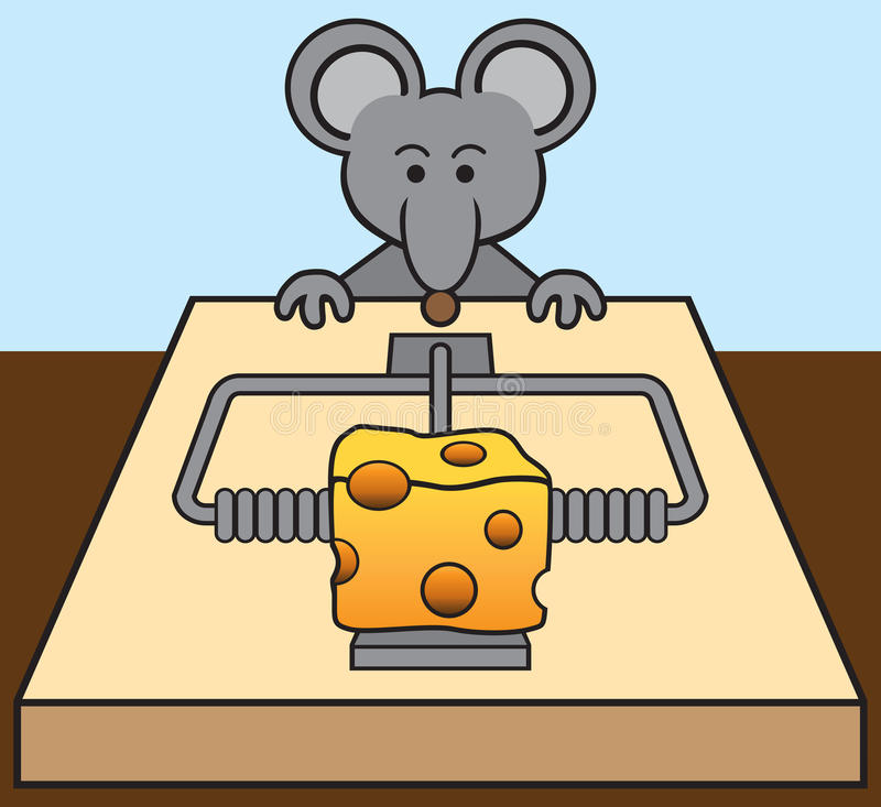 Mouse Being Tempted. Hungry mouse is being tempted by the cheese in a mousetrap royalty free illustration