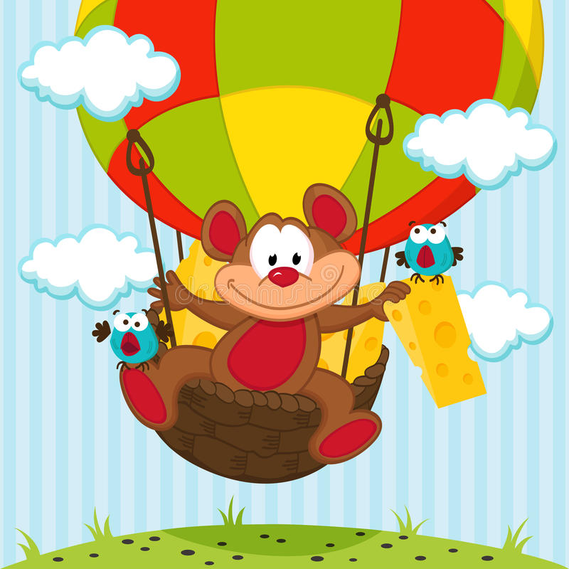 Mouse and a bird in a balloon