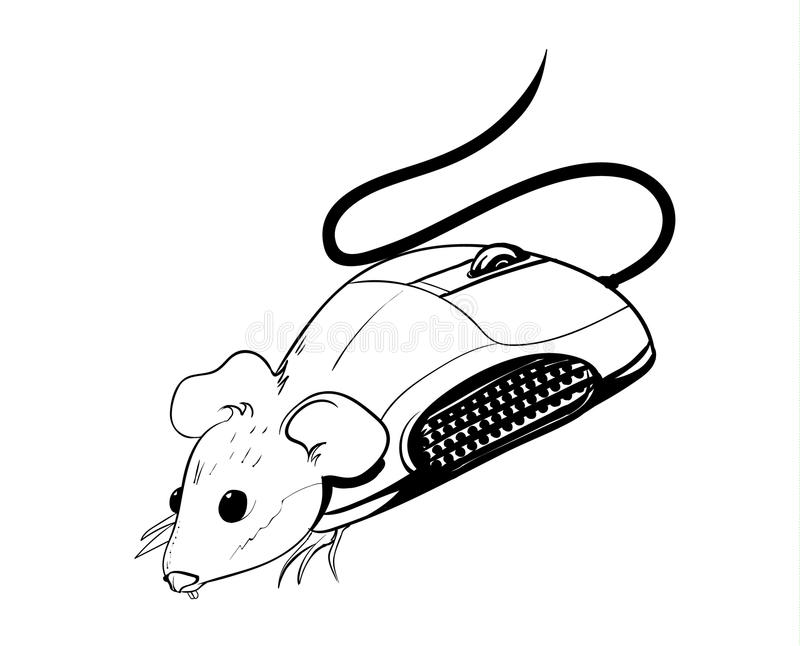Mouse. Black and white sketch of a mouse on a white background for kids stock illustration