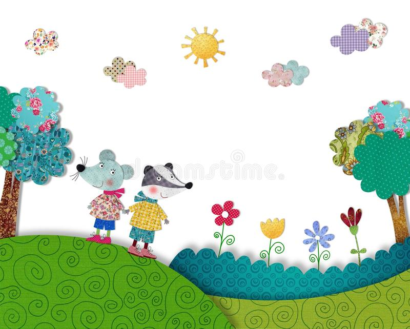 Mouse And Budger Are Having Fun Outdoors Stock Image